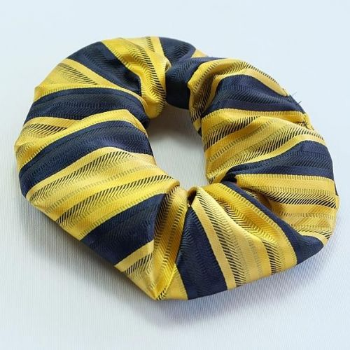 ShowQuest Striped Hair Scrunchie in Navy/Sunshine/Gold